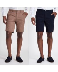 River Island - Navy And Tan Slim Fit Chino Shorts Multipack - Lyst