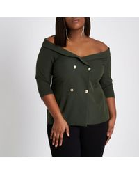 River Island | Plus Khaki Green Double Breasted Bardot Top Plus Khaki Green Double Breasted Bardot Top | Lyst