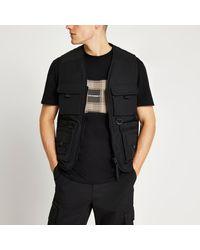 River Island 4 Pocket Vest Gilet - Black