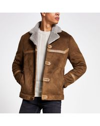 River Island Tan Faux Suede Shearling Jacket - Brown