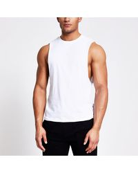 River Island White Muscle Fit Tank Vest