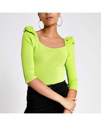 River Island Neon Green Puff Sleeve Square Neck Top