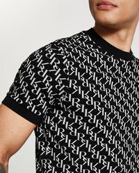 River Island Black Ri Monogram Slim Fit T-shirt
