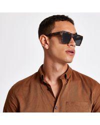 River Island Tortoise Shell D Frame Sunglasses - Brown