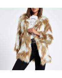 River Island Light Knitted Faux Fur Coat - Brown