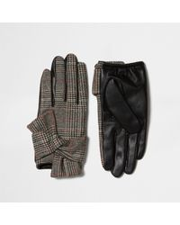 River Island Brown Heritage Check Faux Leather Gloves