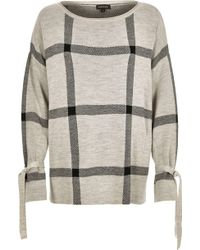 River Island Gray Check Print Knit Sweater