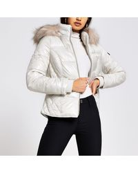 River Island Cream Quilted Double Zip Padded Coat - Natural