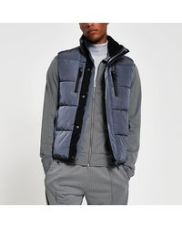 River Island Blue Padded Double Pocket Puffer Gilet - Gray
