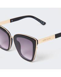 River Island Black Oversized Cat Eye Stud Sunglasses