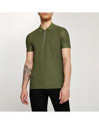 River Island Khaki Ribbed Design Slim Fit Polo - Green