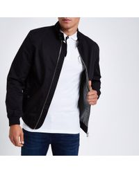 River Island - Black Embroidered Harrington Jacket - Lyst