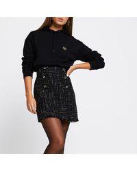 River Island Black Boucle Button Mini Skirt