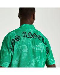 River Island Green Graphic Tie Dye Short Sleeve Shirt