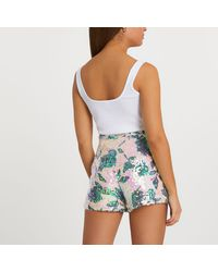 River Island Floral Sequin Shorts - Pink