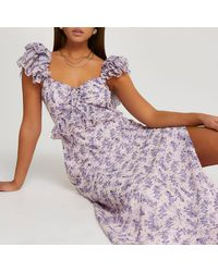 River Island Pink Floral Frill Sleeve Maxi Dress