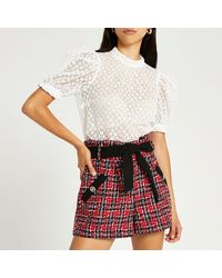 River Island Red Tartan Boucle Belted Short