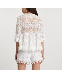 River Island White Lace Tie Front Detail Blouse