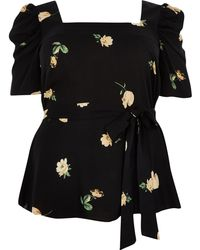 River Island Plus black floral puff sleeve top - Negro