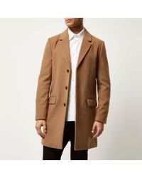 River Island - Tan Smart Overcoat - Lyst