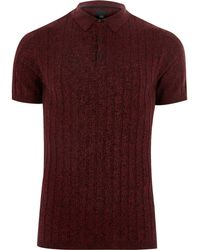 River Island - Red Muscle Fit Ribbed Knit Polo Shirt - Lyst