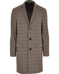 River Island - Check Smart Overcoat - Lyst