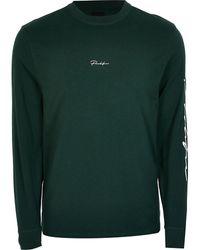 River Island Prolific Dark Green Long Sleeve T-shirt
