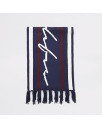 River Island Prolific Navy Stripe Knitted Scarf - Blue