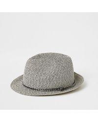 River Island Ecru Twisted Straw Trilby Hat - Multicolor