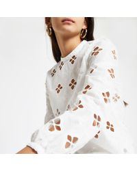 River Island - Broderie Long Sleeve Top - Lyst