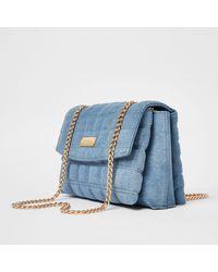 River Island Blue Denim Quilted Shoulder Bag