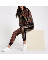 River Island Ri 30 Scarf Print Tracksuit Bottoms - Red