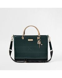 River Island Green Ri Embossed Boxy Quilted Tote Bag
