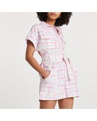 River Island Pink Short Sleeve Tie Dye Utility Playsuit