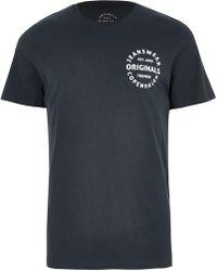 River Island - Jack & Jones Originals Black Print T-shirt - Lyst