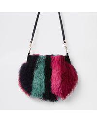 14374ad562 River Island - Dark Red Stripe Mongolian Fur Cross Body Bag - Lyst
