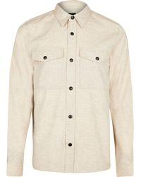 River Island Ecru Long Sleeve Flannel Shirt - Natural