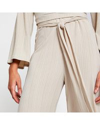 River Island Beige Belted Ribbed Culottes - Natural