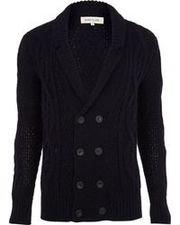River Island Navy Double Breasted Cable Knit Cardigan - Blue