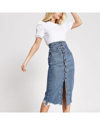River Island Button Through Corset Denim Midi Skirt - Blue