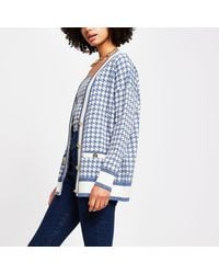 River Island Blue Dogtooth Gold Button Cardigan