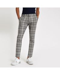 River Island Grey Tartan Check Super Skinny Smart Trousers - Gray