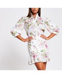 River Island White Broidery Peplum Mini Skirt