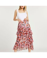 River Island Pink Floral Print Ruffle Maxi Skirt