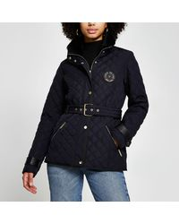 River Island Navy Nylon Quilted Padded Jacket - Blue