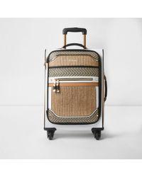 River Island Beige Woven Panel Four Wheel Suitcase Beige Woven Panel Four Wheel Suitcase - Natural