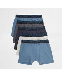 River Island - Big & Tall Blue Boxers Multipack - Lyst