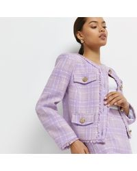 River Island - Petite Purple Check Boucle Jacket - Lyst