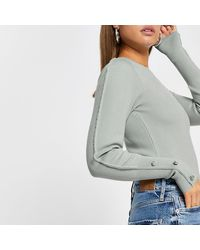 River Island Green Embellished Long Sleeve Knit Top