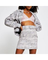 River Island Gray Boucle Belted Mini Skirt
